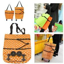 Shopping Cart Carts Trolley Bag Foldable Bags Luggage Wheels Folding Basket Pull(China)