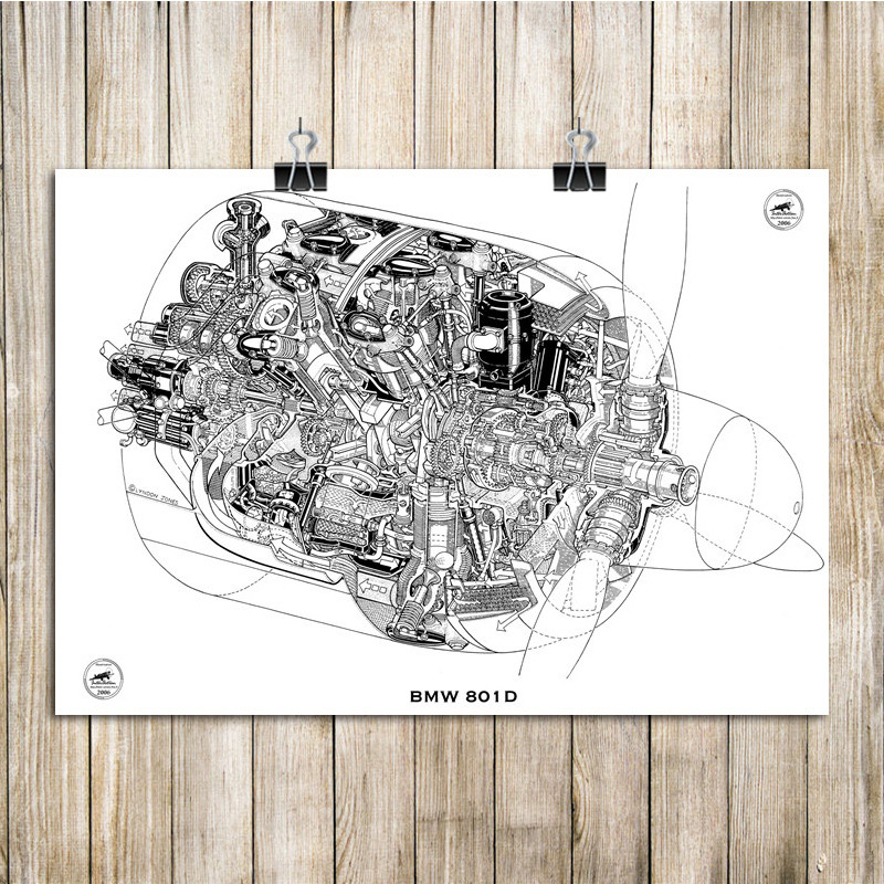 House Decoration Wall Sticker Aircraft Engine Structure Diagram Art Painting For Living Room Cafe Bar Pub Decorative 42x30cm