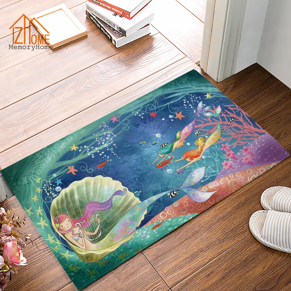Memory Home Cartoon Mermaid Starfish Fish In The Sea Doormat Non ...