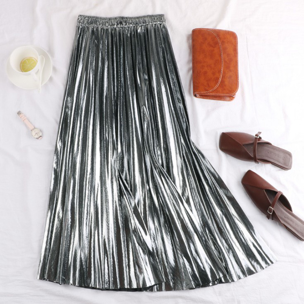 HTB1BXuqU9zqK1RjSZFLq6An2XXau - Autumn Women Pleated Skirt Elegant High Waist Women Long Skirt Ladies Silver Gold Metallic Shiny Ankle-Length Maxi Skirt