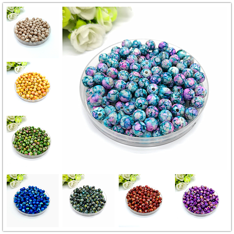 Round Beads 3301 6 Vintage Silver Plated Smooth Acrylic 20mm