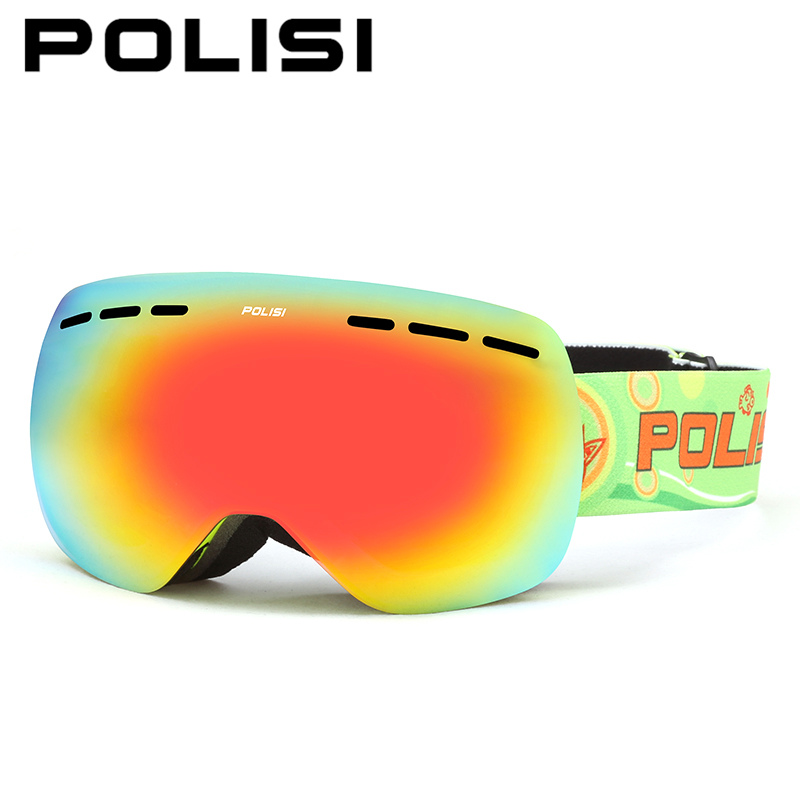 POLISI Children Kids Ski Goggles Big Spheral Double Layer Lens Snowboard Snow Glasses Anti-Fog UV400 Snowmobile Skate Eyewear polisi brand new designed anti fog cycling glasses sports eyewear polarized glasses bicycle goggles bike sunglasses 5 lenses