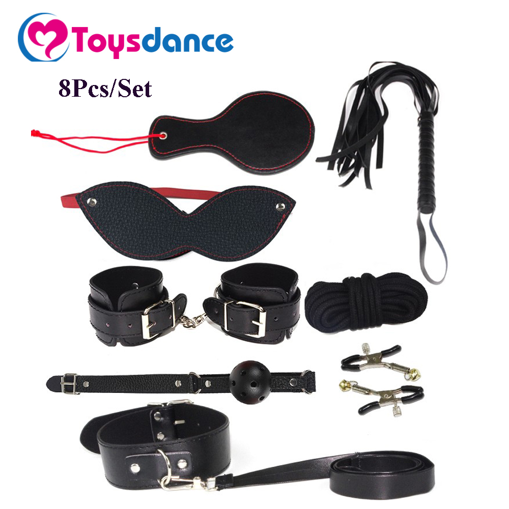 Toysdance 8Pcs/set SM Products Bondage Kits For Couples Adult Games Eye Mask/Cuffs/Whip/Rope/Mouth Gag/Clamps/Neckcollar Sex Toy adult games 8 in 1 pink bondage kit set neck collar whip ball gag handcuffs rope eye mask fur sex fetish toy