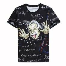 2018 Summer Tops Men 3d Tshirt Print Math Science T-shirts Graphic Einstein Casual T Shirts Homme Crewneck Large Size Shirt