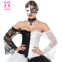 Victorian Black&White Lace Flare Sleeve Off Shoulder Overbust Bridal Corset Sexy Lingerie Corsets And Bustier Steampunk Clothing