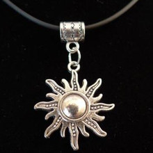 Sun Pendant Necklace With 45cm Leather Chain Christmas Gift Choker Collar Vintage Silver Jewelry(China)