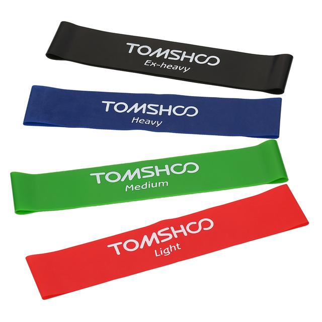 TOMSHOO 4pcs Exercise Resistance Bands Latex Gym Strength Training Fitness Equipment