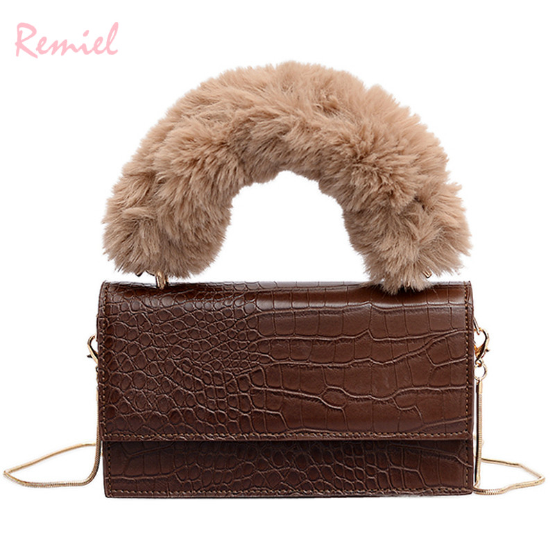 2019 New Fashion Female Tote Bag Quality PU Leather Women's Crocodile Pattern Handbag Plush Portable Shoulder Messenger Bags