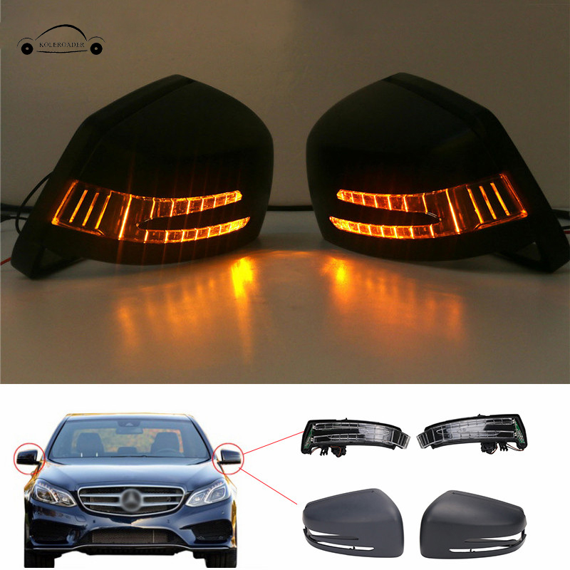 1Set Door Rear View Mirror Cover Cap + Turn Signal Light Lamps Parts For Mercedes Benz E C S Class W212 W204 W221 / Указатель поворота