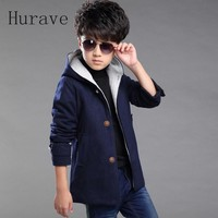 Causal Boys Jacket Hooded Boy Outwear Outfit Single Breasted Boy Kids Coat Winter Warm Clothes Trench