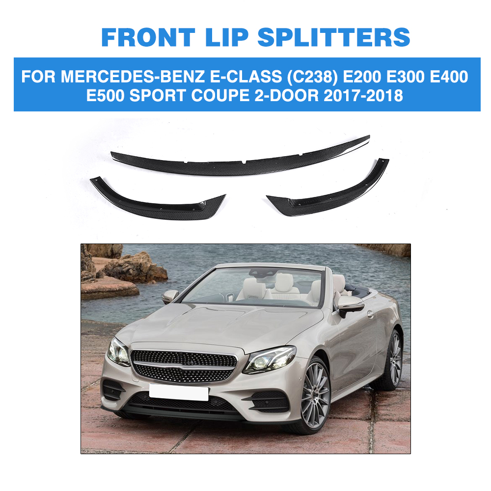 Carbon Fiber Front Bumper Lip Spoiler For <font><b>Mercedes</b></font> Benz E Class C238 E200 <font><b>E300</b></font> E400 E500 Sport <font><b>Coupe</b></font> 2 Door 17-18 FRP Unpainted image
