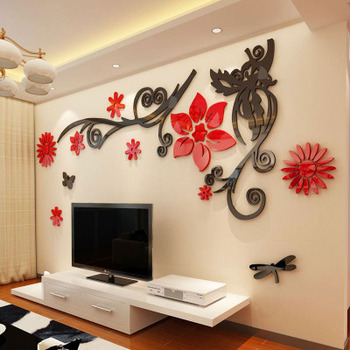 3D stereo Flower vine Acrylic Crystal Wall stickers Home Decor Diy Mirror Wall sticker Tree Living room Sofa TV Background Decal 8