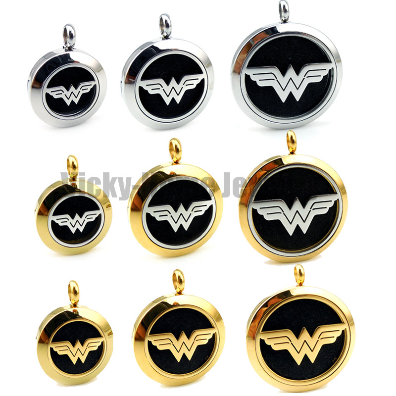 Round Silver and Gold Wonder Woman (20-30mm) Aromatherapy / Essential Oils Stainless Steel Perfume Diffuser Locket