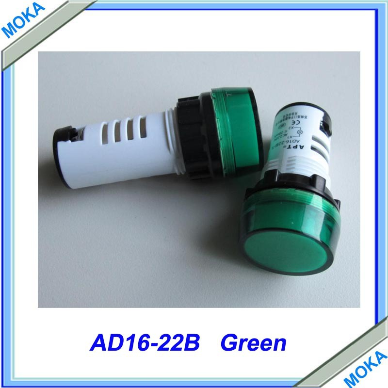 Free shipping High Quality 10 pcs a lot AD16-22B 22MM Diameter Green Pilot Light ...