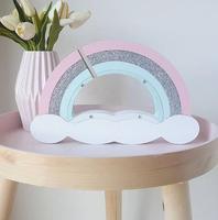Novelty Rainbow Design Wooden Money Boxes Gift For Children 's Room Decoration Transparent Piggy Bank Christmas Decor