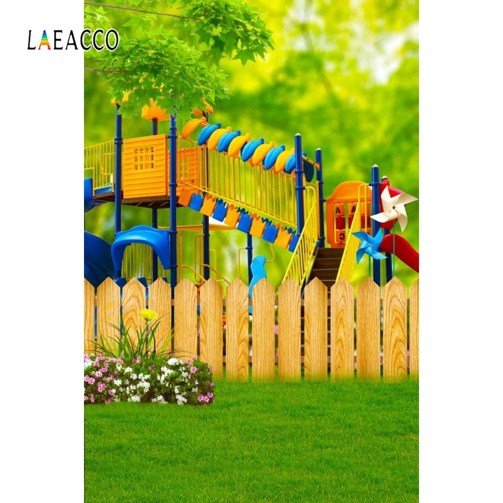 Laeacco Children Slide Cute Bears Fence Balloons Baby Portrait Photography Backgrounds Photographic Backdrops For Photo Studio in Background from Consumer Electronics