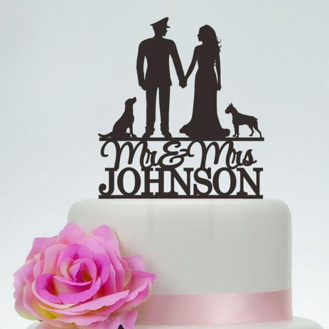 Personalized Policeman Wedding Cake Topper Silhouette Bride Groom ...