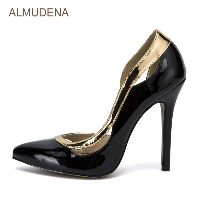ALMUDENA Delicate Gold Black Shiny Patent Leather High Heel Shoes Pointed  Toe Sexy Cocktail Party Shoes Cut-out Dress Pumps 8a02b98eb618