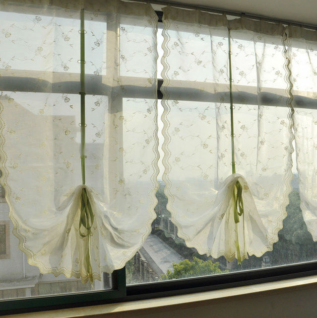 Riband Draw String Embroidered Retractable Curtains, French Door Lace  Curtain Panels