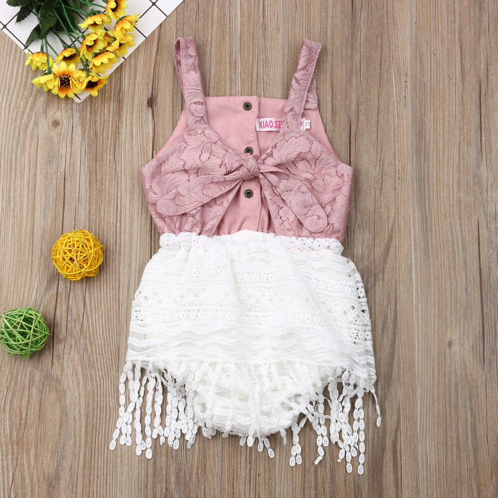 Newborn Baby Girls Lace Tassels Romper Bodysuit Jumpsuit Summer Outfits Clothes
