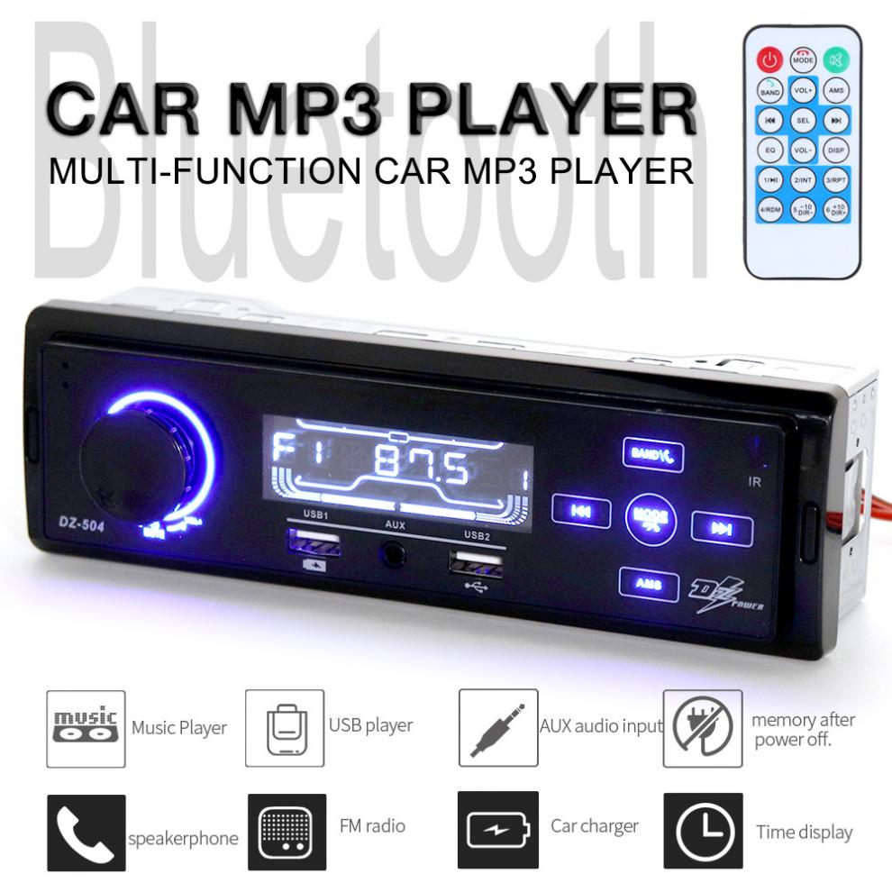 DC12V Bluetooth Car Radio MP3 Player Vehicle Stereo Audio In-Dash Aux Input Receiver Support TF/FM/USB/SD with Remote Control tivdio v 116 fm mw sw dsp shortwave transistor radio receiver multiband mp3 player sleep timer alarm clock f9206a