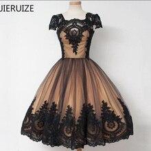 5247233f75 JIERUIZE czarne koronkowe aplikacje Tea długość suknie wieczorowe 2018  suknia balowa Cap rękawy sukienki dla matki