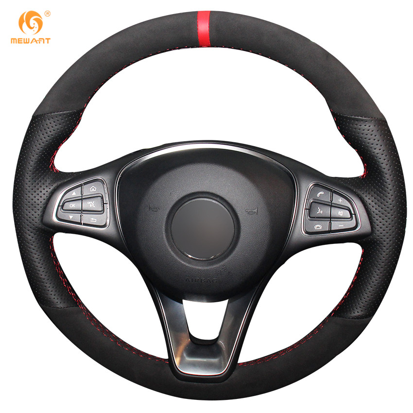 MEWANT Black Genuine Leather Black Suede Red Marker Car Steering Wheel Cover for Mercedes Benz C180 C200 C260 C300 B200 runba ice silk steering wheel cover sets with red thread