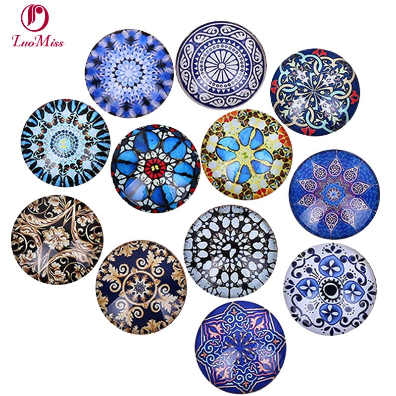 24pcs 12-20mm Fashion Pattern Flowers Mixed All In Paris Photo Glass Cabochons & Glass Diy Cabochon Beads Jewelry Fittings