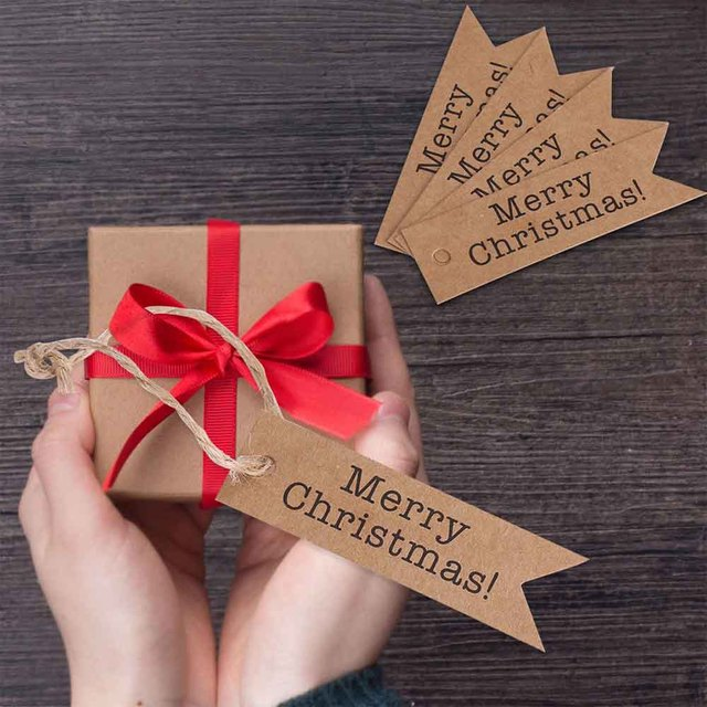 100pcs Merry Christmas Gift Tags Candy Bag Box Hang Paper Tags Label