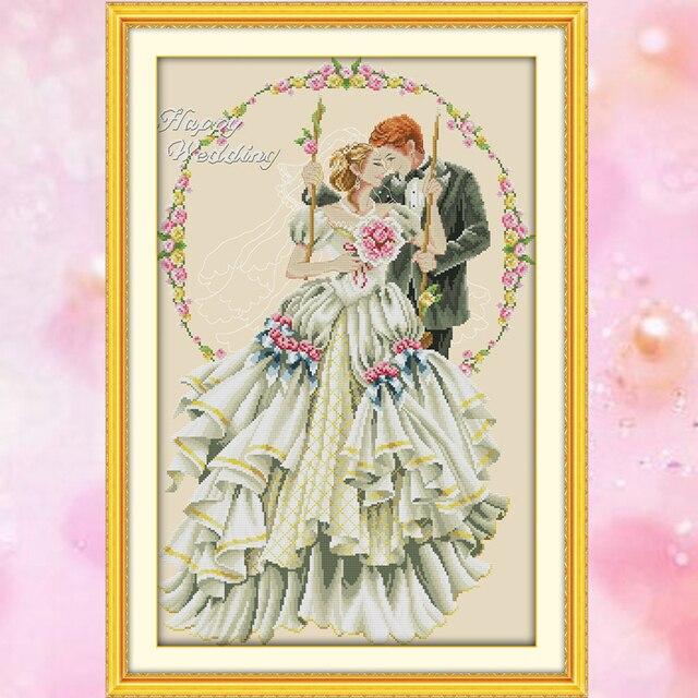 US $13 52 35% OFF JoySunday wedding cross stitch needlepoint kits Happy  wedding DMC14CT11CT cotton fabric livingroom bedroom decoration  wholesale-in