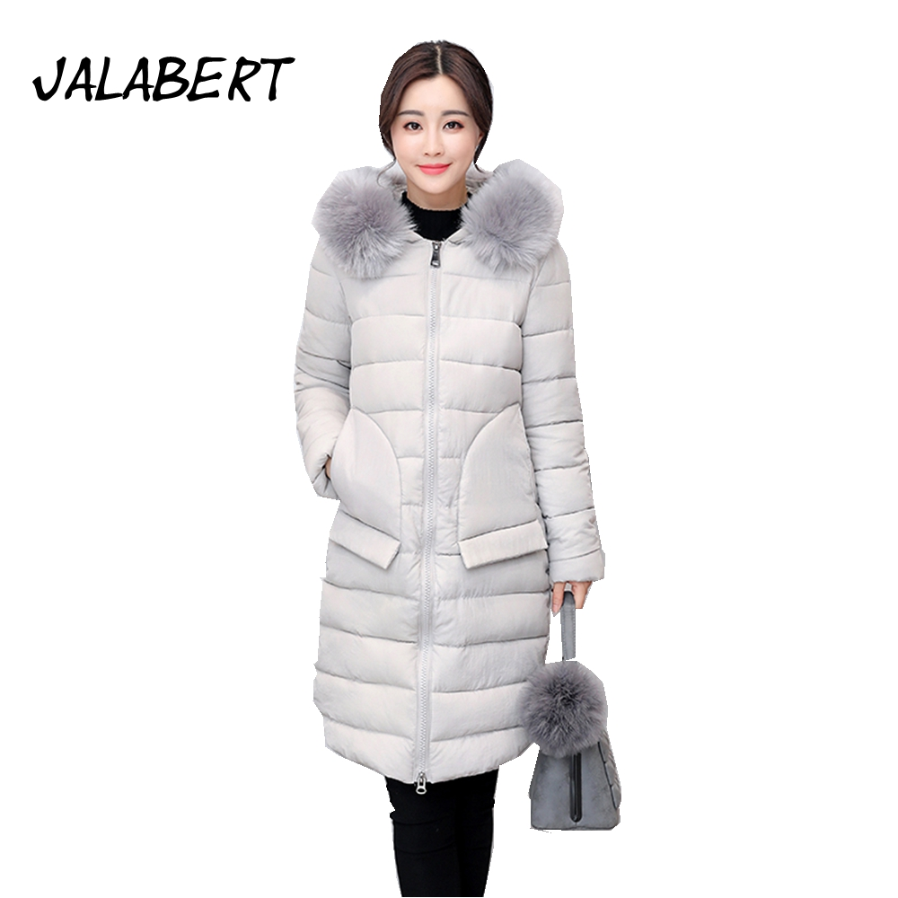 2017 new winter female big fur collar splicing cotton jacket women Irregular pockets long Hooded thick warm parkas coat women winter coat leisure big yards hooded fur collar jacket thick warm cotton parkas new style female students overcoat ok238
