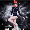 2015 Sexy Látex Mulheres Virilha Aberta Bodysuit Pole Dance Sexy Biquíni Trajes Sexy Lingerie Desgaste Do Clube Para Adultos