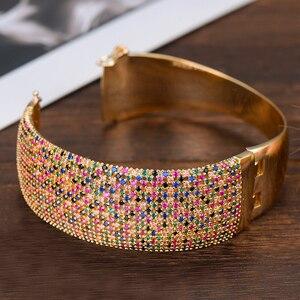 Image 4 - GODKI רחב יוקרה טניס צמיד טבעת סטי נשים חתונה מעוקב זירקון קריסטל CZ aretes דה mujer modernos 2019