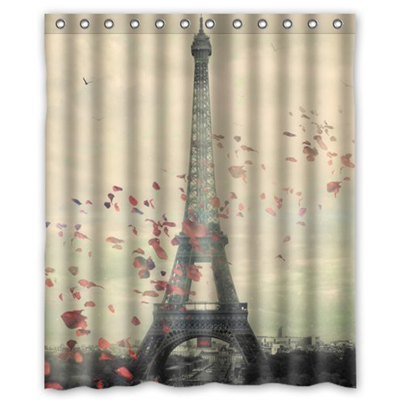 charmhome pars torre eiffel paisaje de diseo de bao cortina impermeable cortina de la ducha cortinas
