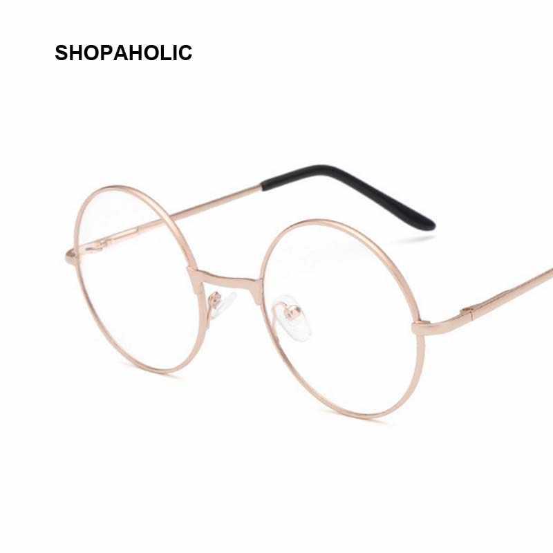 763cb252e100 Round Mirror Sun Glasses for Women Men Retro Metal Frame Eyeglasses Korean Clear  Lens Sunglasses Male