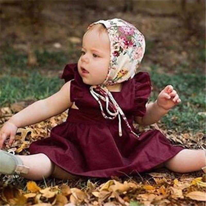 Pudcoco Balita Bayi Gadis Ruffled Sundress Backless Baptisan Partai Anak Tanpa Lengan Kontes Gaun