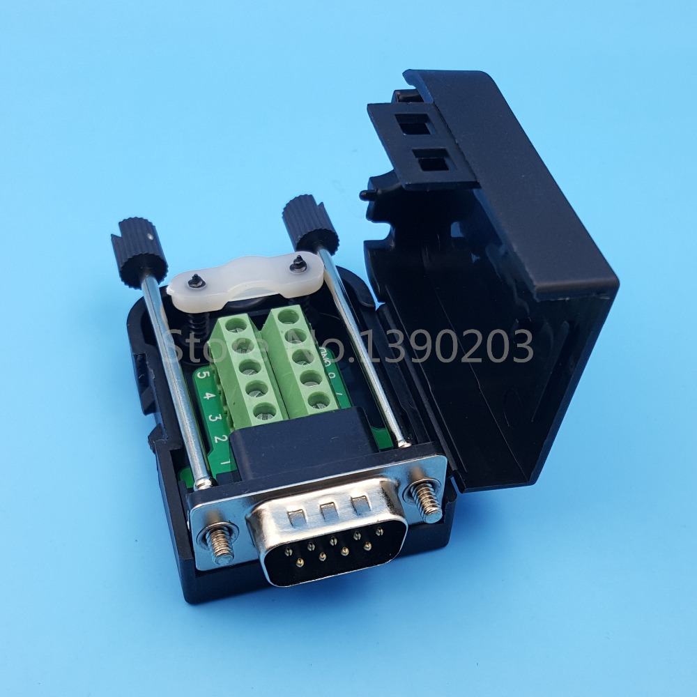 D-SUB DB9 Male 9Pin Plug Breakout Board Terminals Connector Screw Type Black Plastic Cover hot factory direct wholesale db9 d sub vga male plug 9pin port terminal breakout pcb rs232 485 2 row screw