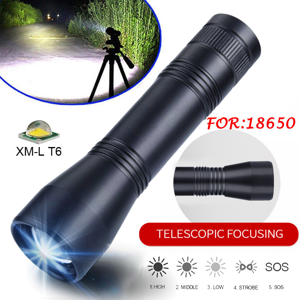 Skywolfeye T6 Tactical Military LED Flashlight Torch Zoomable 5-Mode For 18650 Battery 6.3