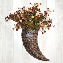 Horn Flower Vase Basket Handmade Straw Hanging Hand-Woven Wedding Decoration Silk Dry Planter