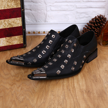 Mens pointed toe dress shoes genuine leather italian shoes men leather loafers wedding office shoe for man rivets male Oxford christia bella pointed toe wedding shoes male italian men shoes handmade genuine leather men loafers luxury business dress shoes
