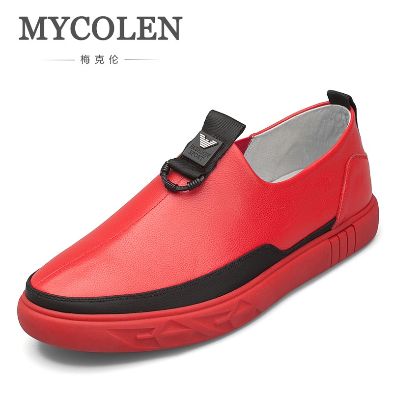 MYCOLEN Men's Leather Shoes Loafers Casual Shoes Split Leather Breathable Red Slip On Men Shoes Chaussure Homme De Marque mycolen 2018 new arrival casual mens shoes red leather men fashion low lace up men flats shoes chaussure homme de marque