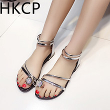 HKCP 2019 The Korean version of the flat toe sandals is new rhinestone back zipper gladiator for summer C202