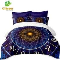 Home Textile Boho Magical Circle Print Bedding Set Geometric Pattern Duvet Cover Sets Pillow Case Flat