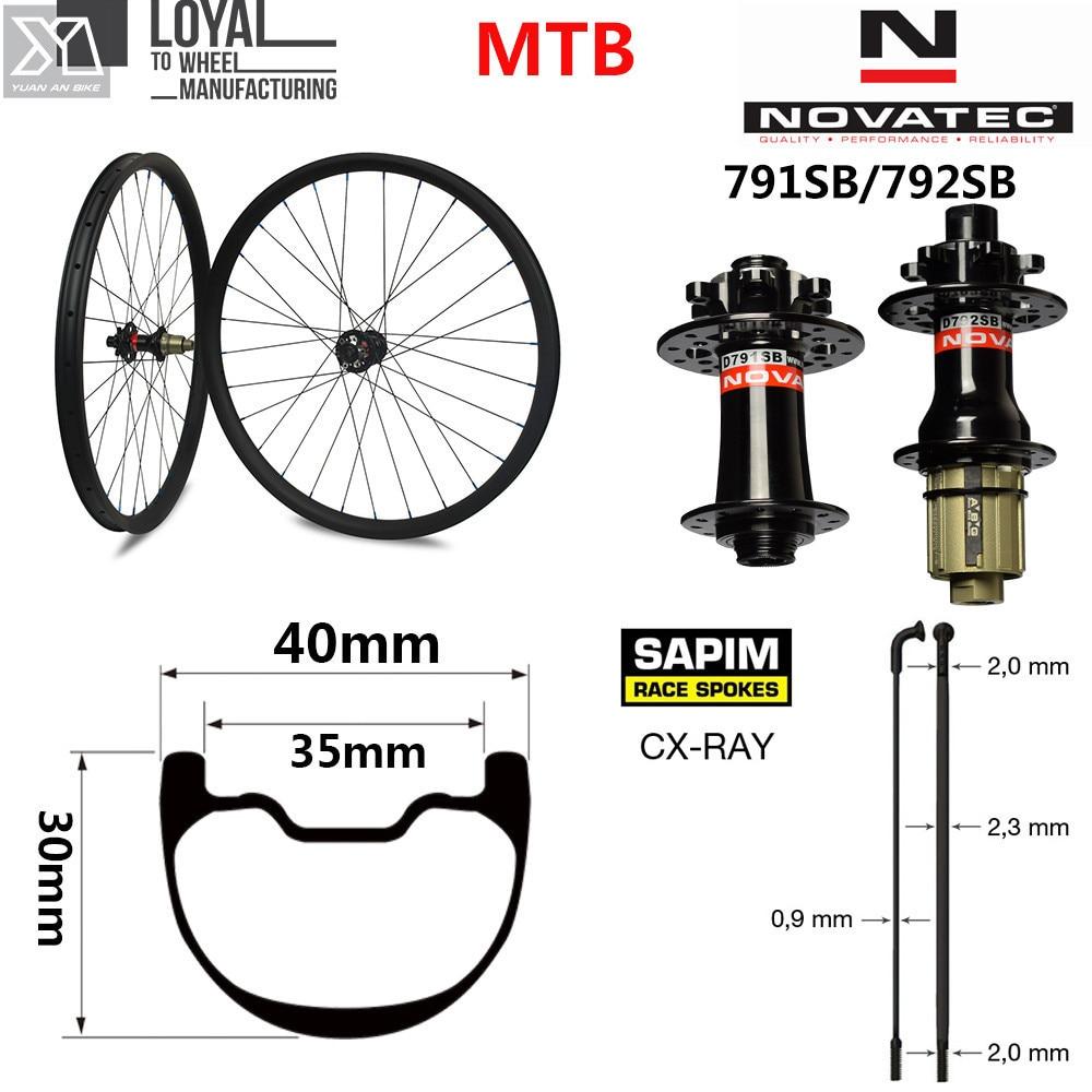 29er Plus Mountain bike wheel carbon mtb wheelset 40mm Wider Rim with NOVATEC D791/D792 for XC or AM 28 Hole29er Plus Mountain bike wheel carbon mtb wheelset 40mm Wider Rim with NOVATEC D791/D792 for XC or AM 28 Hole
