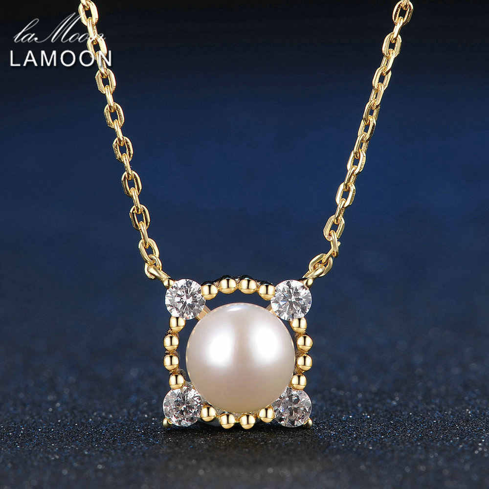 LAMOON 8mm Freshwater Pearl 100% S925 Sterling Silver Natural Fine Jewelry Sets For Women Pendant Stud Earrings Ring V036-1