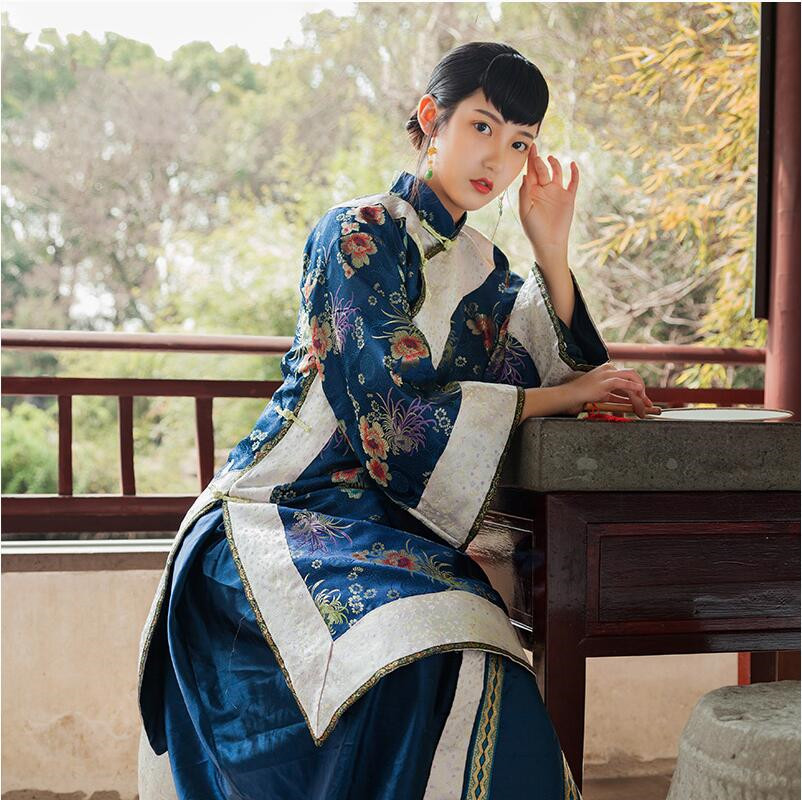Miss Lady Performing Dresses High End Hanfu Apparel China Qing Dynasty Women's Clothes Traditional Chinese Old-fashioned Dress