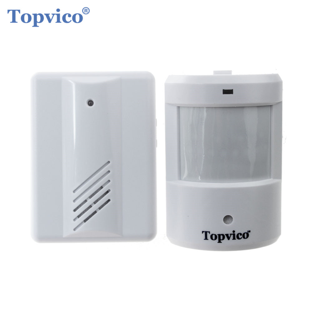 Topvico Motion Sensor Detector Alarm + Receiver Doorbell 90dB Wireless PIR Infrared Home Store Alarm Systems Security Anti-theft safurance 90db security burglar infrared motion sensor detector pir alarm home shed garage for home security safety