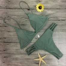 2018 hot sale solid micro font b bikinis b font tankini swimsuit female braided rope bottom