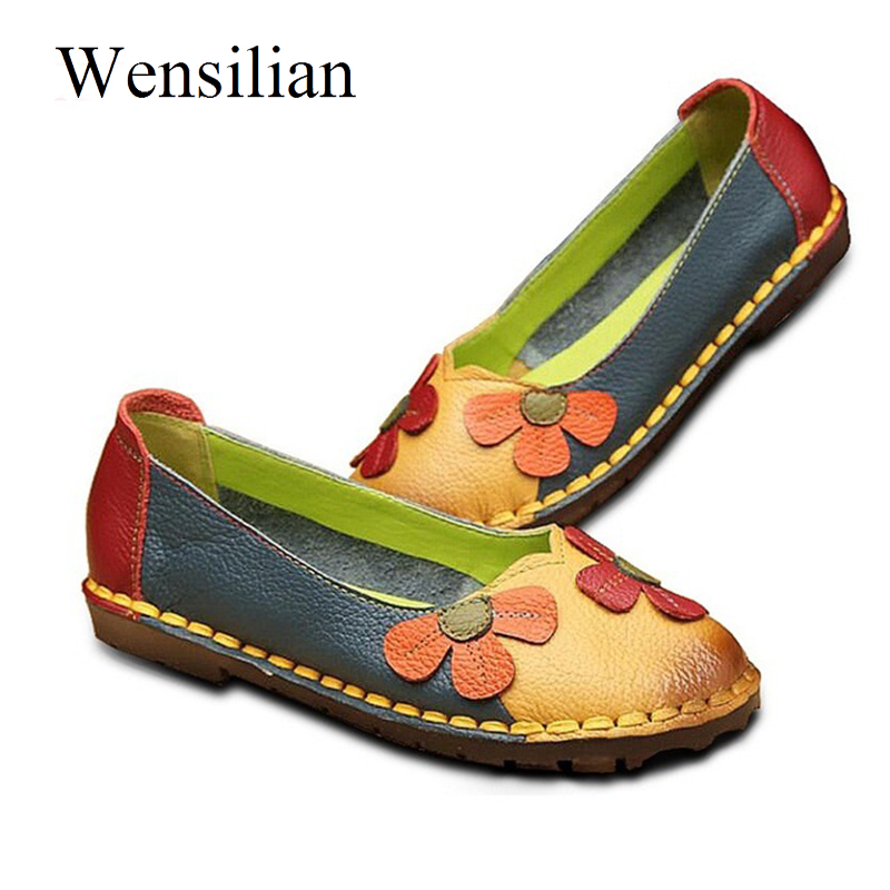 Summer Women Ballet Flats Genuine Leather Shoes Ladies Soft Non-slip Casual Shoes Flower Slip On Loafers Moccasins Zapatos Mujer summer women ballet flats genuine leather shoes ladies soft non slip casual shoes flower slip on loafers moccasins zapatos mujer