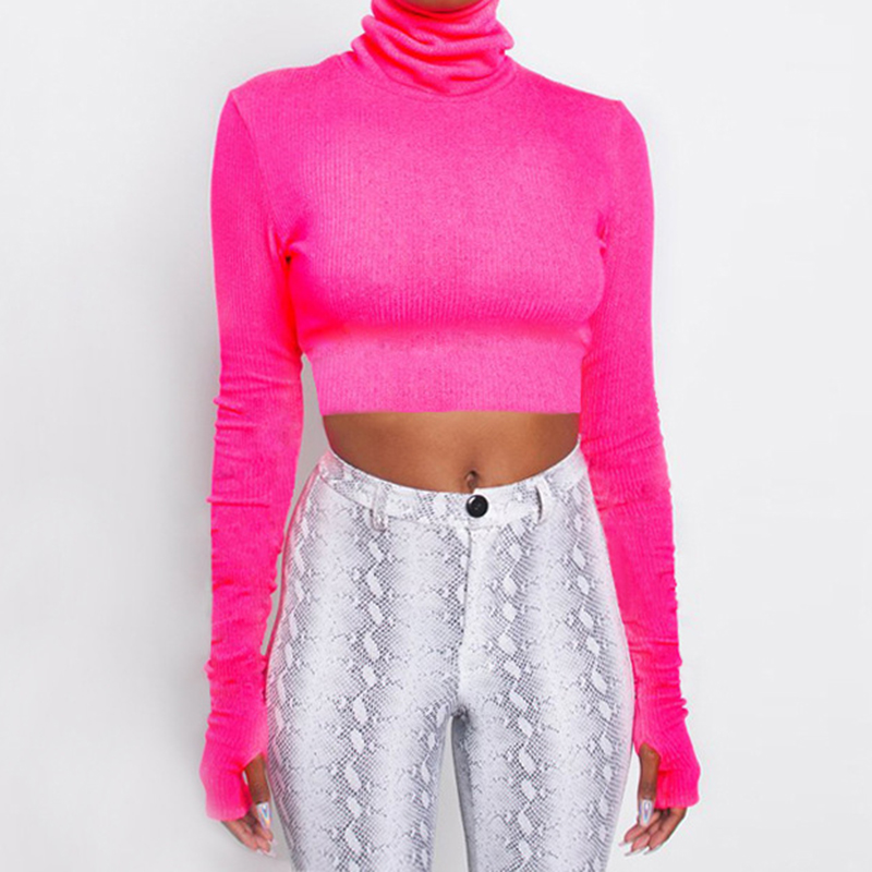 Neon Color Turtleneck Street Crop Top Women Sexy Club Long Sleeve Tops 2019 Female Fluorescent Short Tee Shirts Streetwear M0325